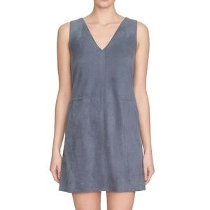 1. STATE Blue Gray Faux Suede Shift Dress